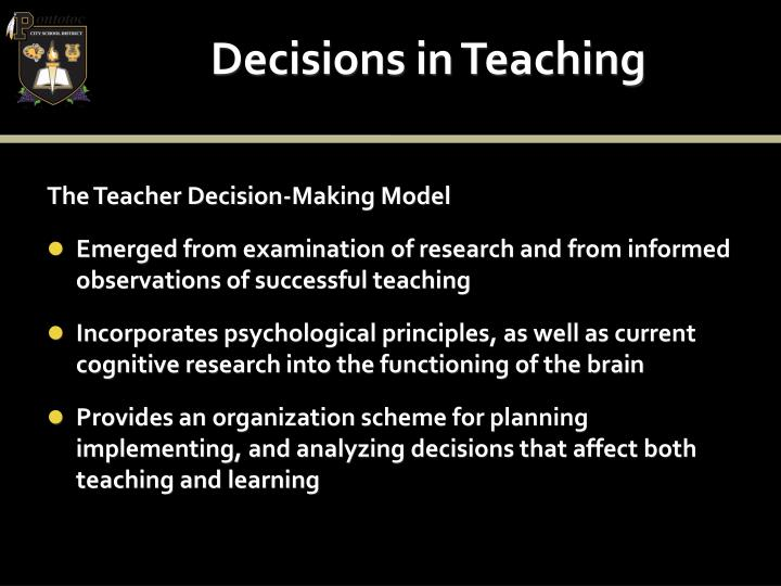 Decisions in Teaching