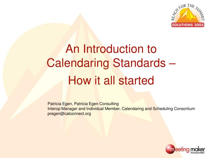 An Introduction to Calendaring Standards –