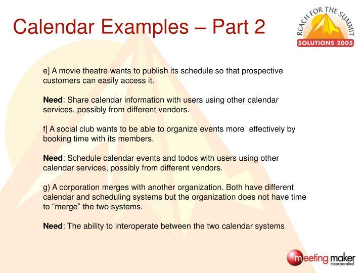 Calendar Examples – Part 2