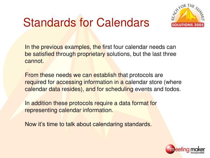 Standards for Calendars