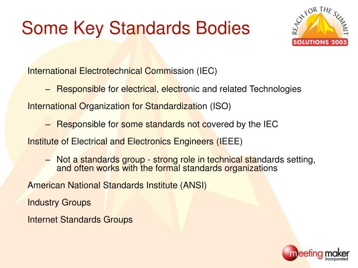 Some Key Standards Bodies