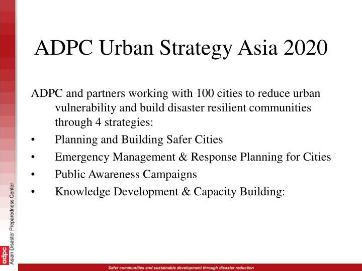 ADPC Urban Strategy Asia 2020