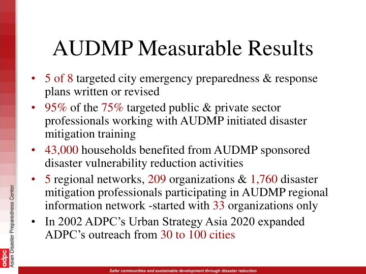 AUDMP Measurable Results