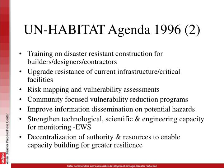 UN-HABITAT Agenda 1996 (2)