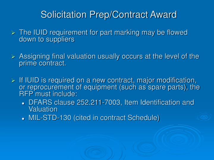 Solicitation Prep/Contract Award