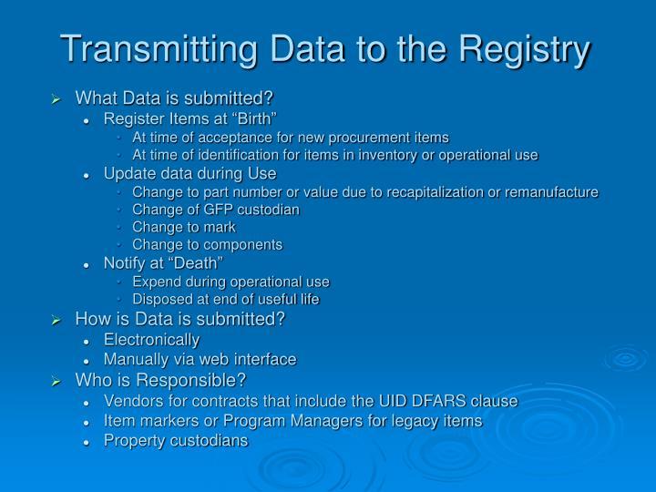 Transmitting Data to the Registry