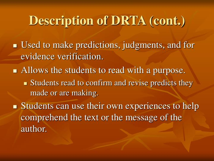 Description of DRTA (cont.)