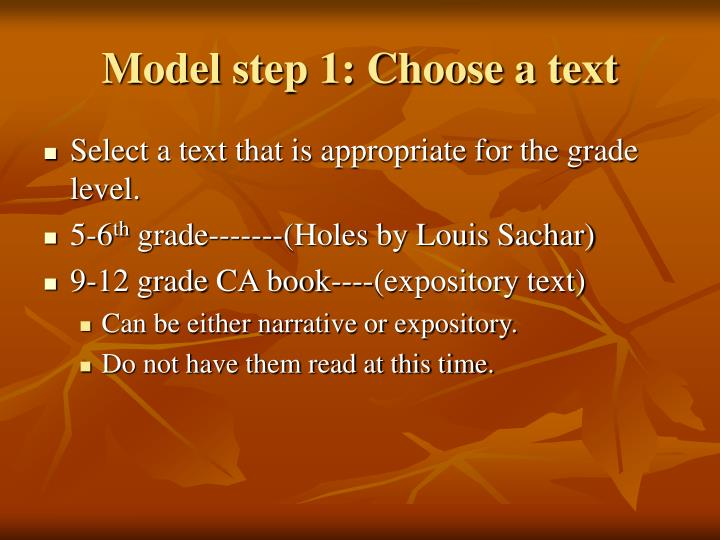 Model step 1: Choose a text