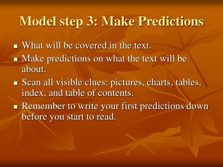 Model step 3: Make Predictions
