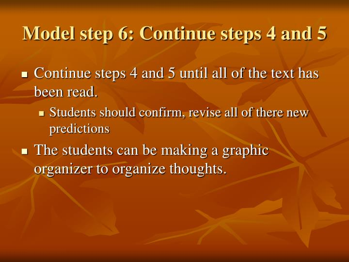 Model step 6: Continue steps 4 and 5