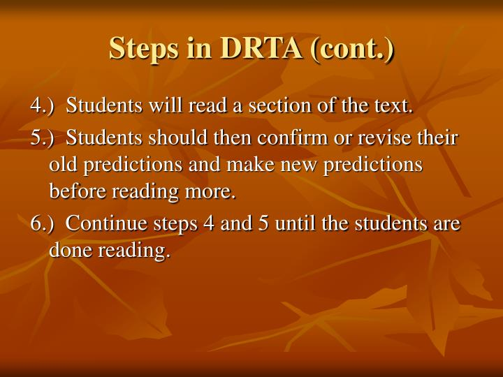 Steps in DRTA (cont.)