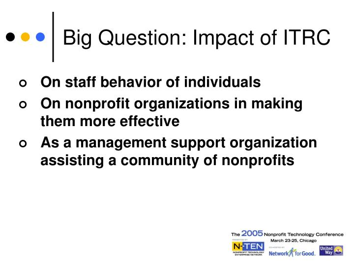Big Question: Impact of ITRC
