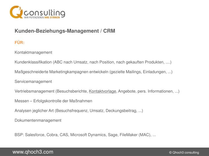 Kunden-Beziehungs-Management / CRM