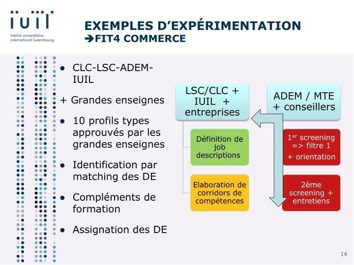 Exemples d'expérimentation