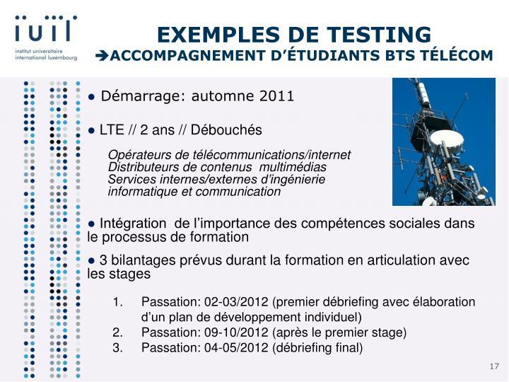 Exemples de testing
