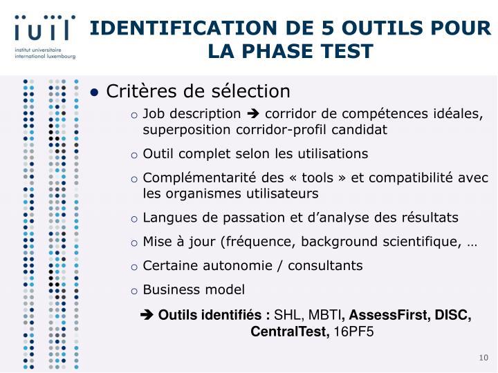 Identification de 5 outils pour la phase test