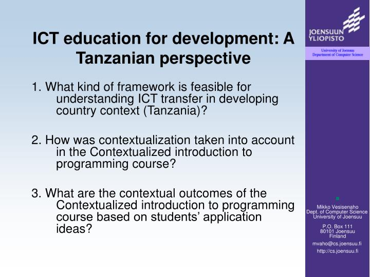 ICT education for development: A Tanzanian perspective