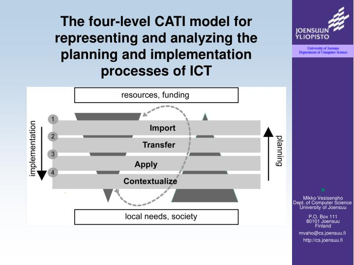 The four-level CATI model for representing and analyzing the planning and implementation processes of ICT