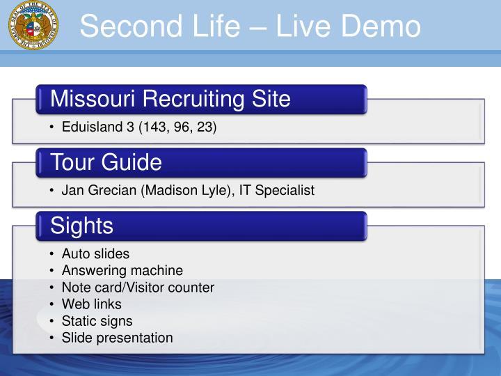 Second Life – Live Demo
