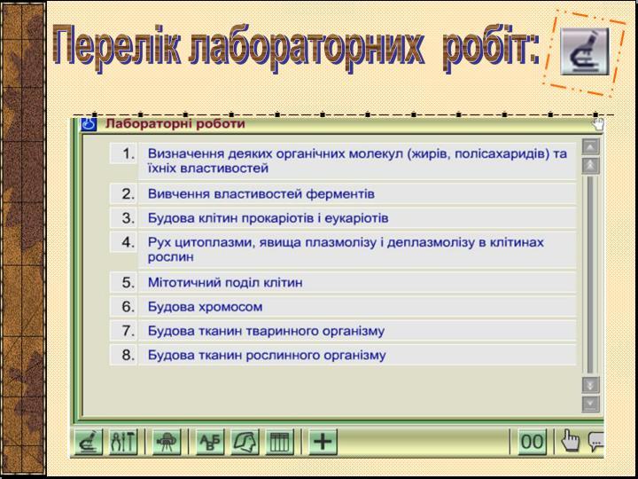 Перелік лабораторних  робіт: