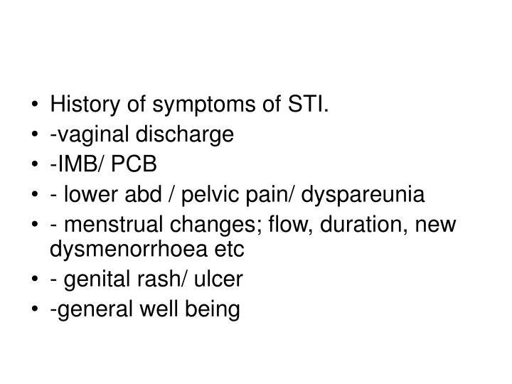 History of symptoms of STI.