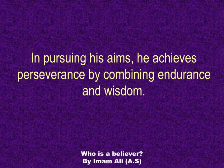 In pursuing his aims, he achieves perseverance by combining endurance and wisdom.