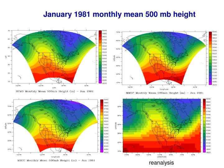 January 1981 monthly mean 500 mb height