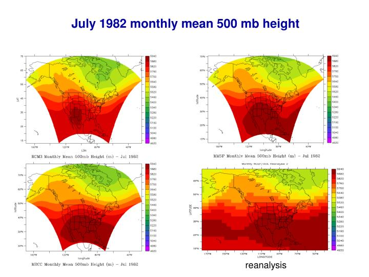 July 1982 monthly mean 500 mb height