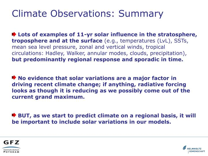 Climate Observations: Summary