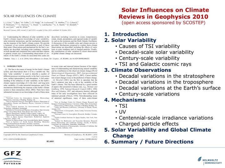 Solar Influences on Climate