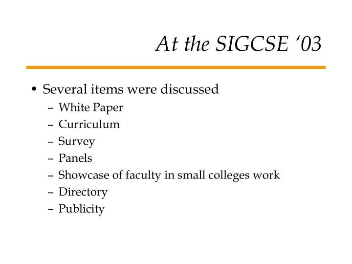 At the SIGCSE '03