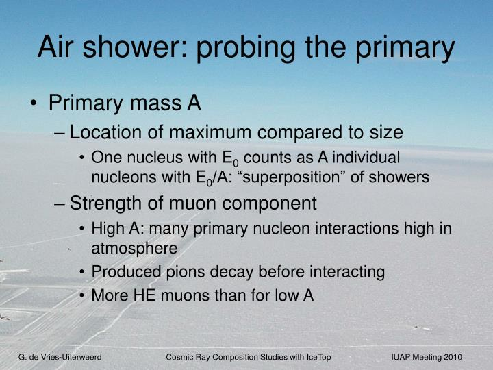 Air shower: probing the primary