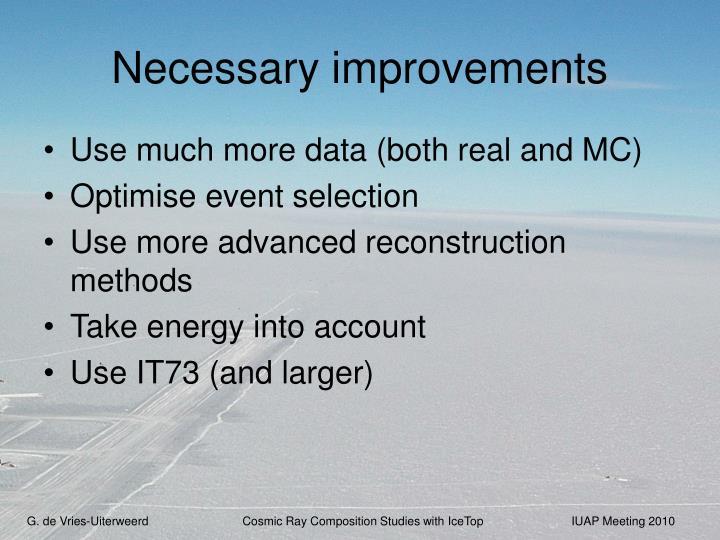 Necessary improvements