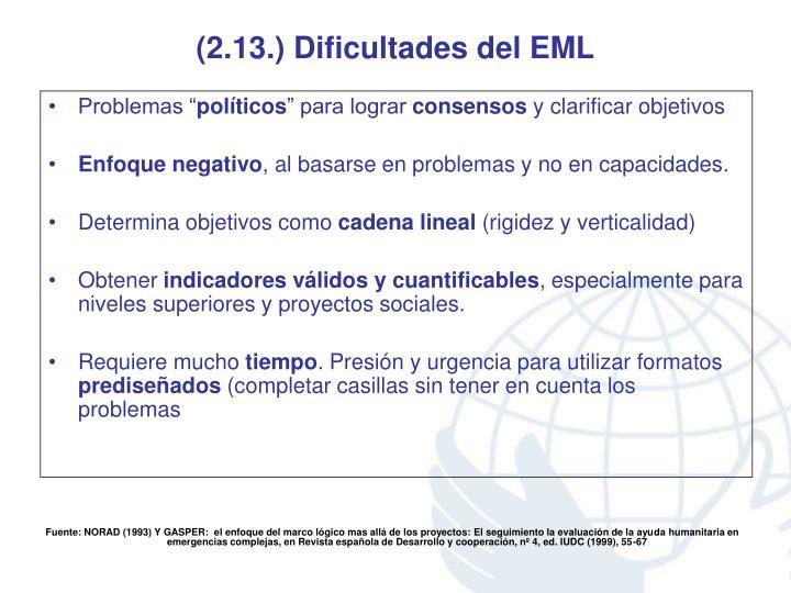 (2.13.) Dificultades del EML
