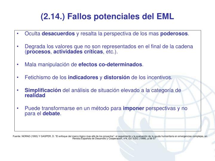 (2.14.) Fallos potenciales del EML
