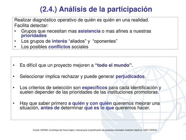 (2.4.) Análisis de la participación
