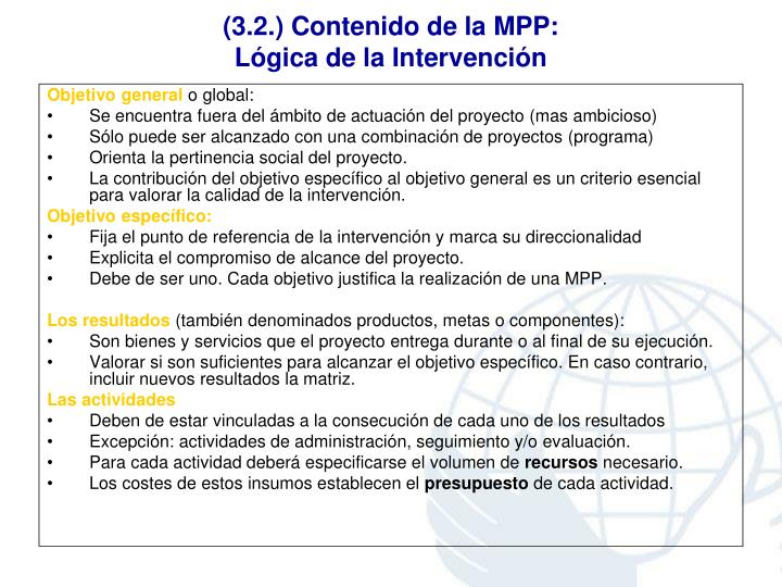 (3.2.) Contenido de la MPP: