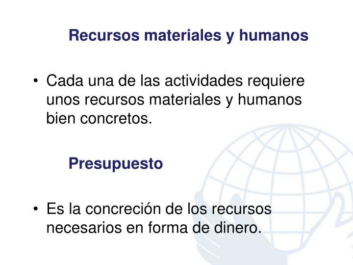 Recursos materiales y humanos