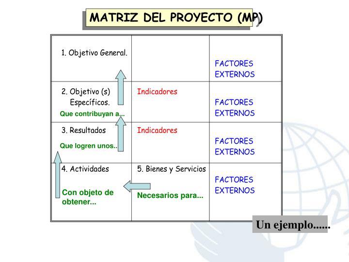 MATRIZ DEL PROYECTO (MP)
