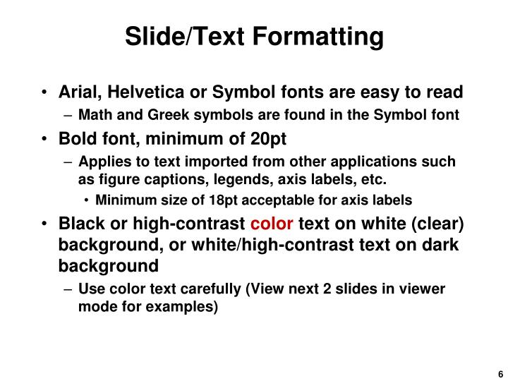 Slide/Text Formatting