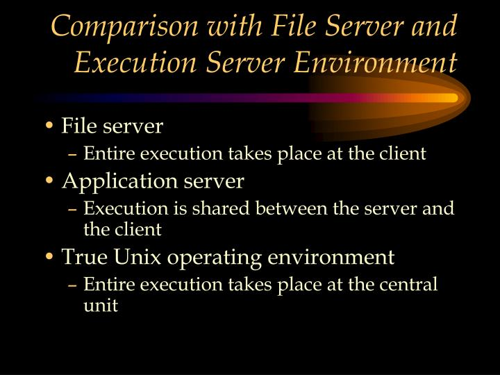 Comparison with File Server and Execution Server Environment