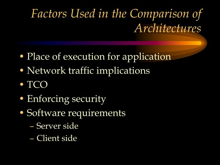 Factors Used in the Comparison of Architectures