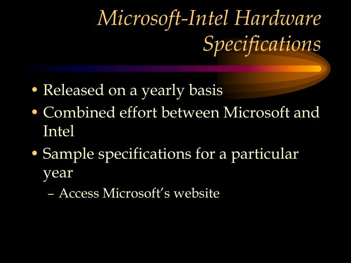 Microsoft-Intel Hardware Specifications