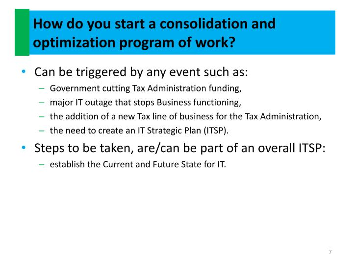 How do you start a consolidation and optimization program of work?