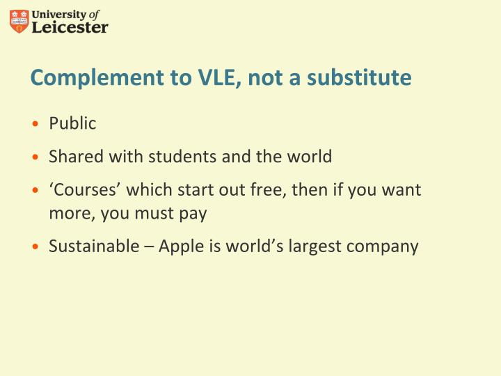 Complement to VLE, not a substitute