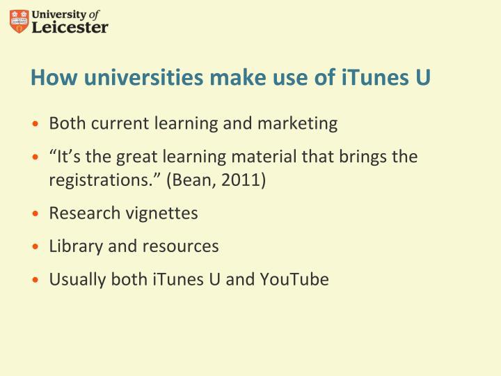 How universities make use of