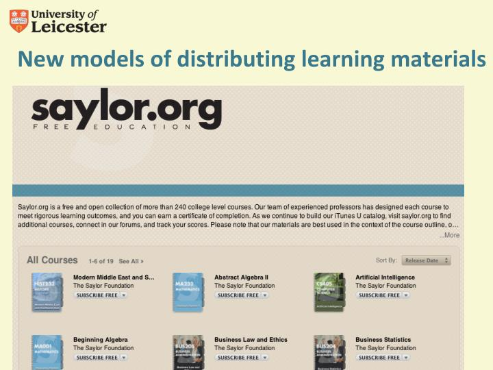 New models of distributing learning materials