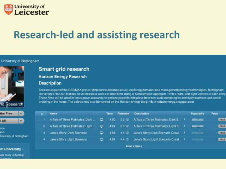 Research-led and assisting research