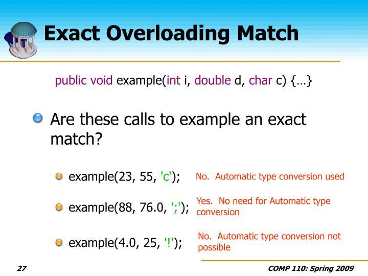 Exact Overloading Match