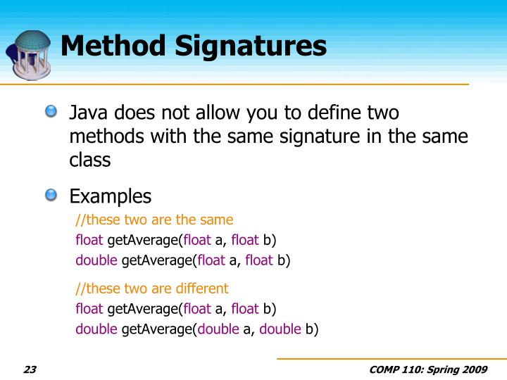 Method Signatures